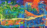 Gerson Corzo - PAISAJE BAJANDO AL CHICAMOCHA - Díptico - Mixta sobre tela - 105 x 170 cms - 2014